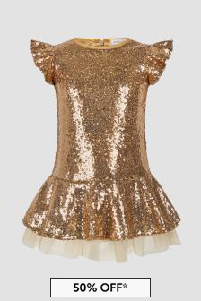 Monnalisa Girls Gold Dress