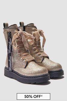 Monnalisa Girls Beige Boots