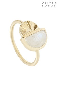 Oliver Bonas Atlas Semi Circle & Stone Gold Plated Ring