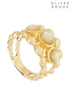 Oliver Bonas Celia Sphere Frame & Stone Gold Plated Ring