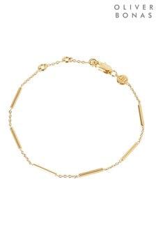 Oliver Bonas Miho Bar Detail Delicate Gold Plated Chain Bracelet