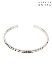 Oliver Bonas Comino Textured Lines Silver Plated Cuff Bangle