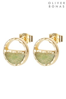Oliver Bonas Roxi Circle & Half Stone Gold Plated Stud Earrings