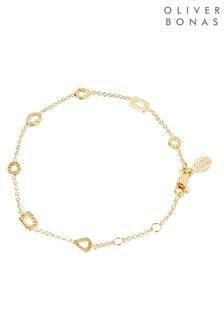 Oliver Bonas Havasu Textured Shapes Gold Plated Bracelet