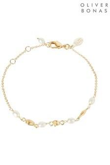 Oliver Bonas Amalfi Pearl & Shape Link Gold Plated Bracelet