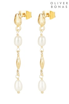 Oliver Bonas Amalfi Pearl & Shape Link Gold Plated Mini Drop Earrings
