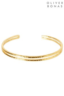 Oliver Bonas Comino Textured Lines Gold Plated Cuff Bangle