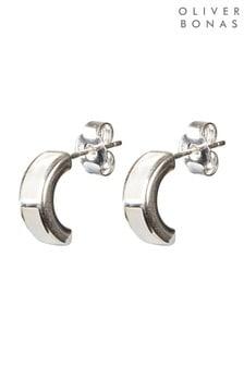 Oliver Bonas Lorne Curve & Stone Inlay Silver Plated Hoop Earrings