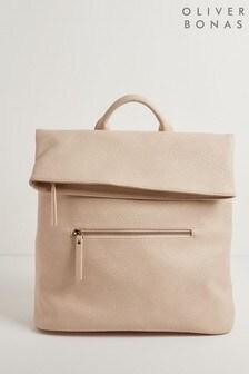 Oliver Bonas Cream Slouch Foldover Backpack