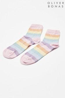 Oliver Bonas Pink Rainbow Stripe Glitter Ankle Socks