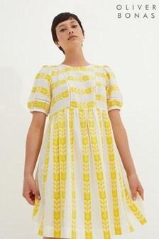 Oliver Bonas Yellow Stripe Ladder Trim Mini Dress