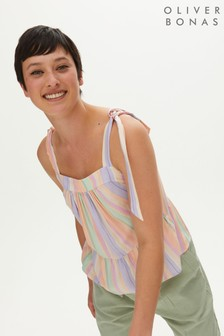 Oliver Bonas Pink Stripe Pastel Tie Strap Top