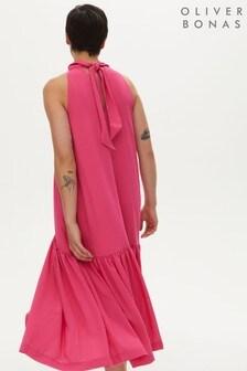 Oliver Bonas Pink High Neck Sleeveless Textured Midi Dress