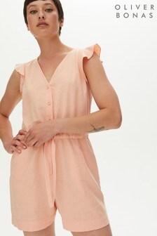 Oliver Bonas Pink Washed Linen Mix Playsuit