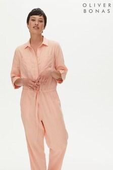 Oliver Bonas Orange Washed Linen Mix Jumpsuit