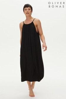 Oliver Bonas Black Jersey Drawstring Dress