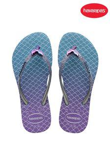 Havaianas Kids Blue Slim Glitter II Flip Flops