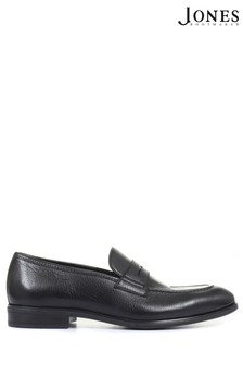 Jones Bootmaker Mens Black Rafe Deerskin Leather Penny Loafers
