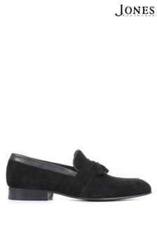 Jones Bootmaker Mens Black Richmond Leather Suede Penny Loafers
