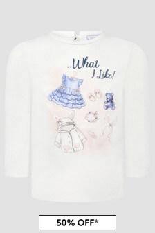 Monnalisa Baby Girls Cream T-Shirt