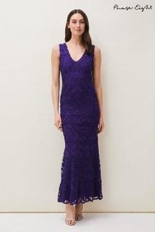 Phase Eight Purple Osanne Tapework Lace Maxi Dress
