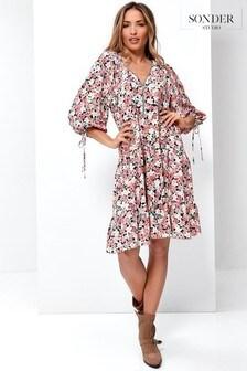 Sonder Studio Pink Ditsy Floral Smock Dress