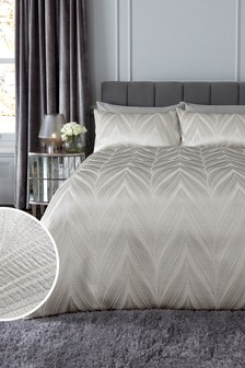 Champagne Jacquard Chic Wave Abstract Duvet Cover and Pillowcase Set