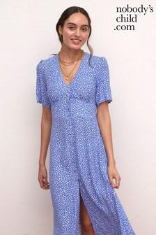 Nobody's Child Alexa Blue Ditsy Floral Midi Dress