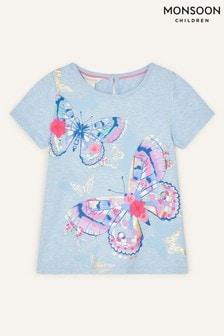 Monsoon Blue Butterfly T-Shirt In Organic Cotton