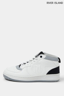 River Island White Dipped Topline Trainers