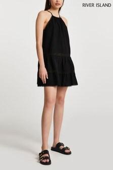 River Island Black Tiered Halter Mini Swing Dress