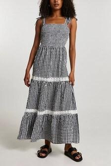 River Island Black Lace Trim Gingham Maxi Dress