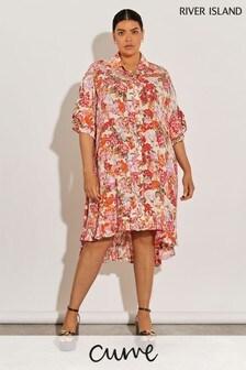 River Island Orange Floral Shirt Dress