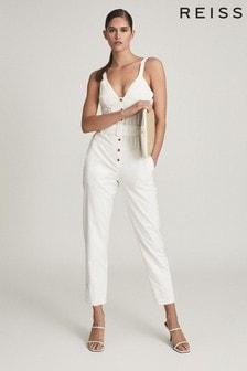 REISS White Sola Button Through Jumpsuit