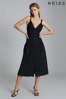 REISS Black Vita Button Through Midi Dress