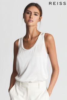 REISS White Riley Silk Front Vest