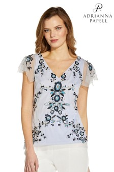 Adrianna Papell White Bead Flutter Top