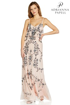 Adrianna Papell Pink Beaded Blouson Gown