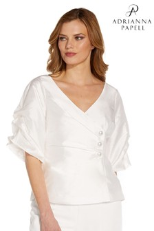 Adrianna Papell White Taffeta Puff Sleeve Blouse
