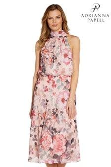 Adrianna Papell Pink Floral Printed Bias Midi Dress