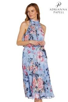 Adrianna Papell Blue Floral Printed Bias Midi Dress