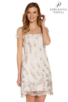 Adrianna Papell Pink Floral Embroidery Shift Dress