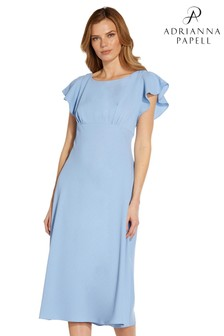 Adrianna Papell Blue Divine Crepe Bias Dress