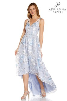 Adrianna Papell Blue Floral Embroidered Gown