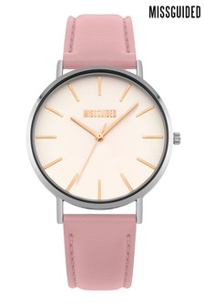 Missguided Pink Padded Watch With White Satin Dial