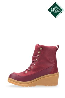 Muck Boots Red Liberty Leather Wedge Ankle Boots