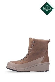 Muck Boots Tan Liberty Leather Wedge Ankle Boots
