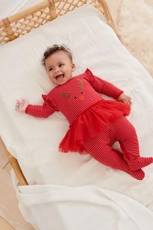 Christmas Reindeer Tutu Sleepsuit (0mths-3yrs)