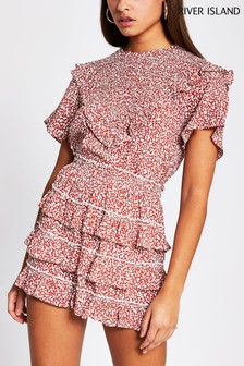 River Island Oxblood Floral Ruffle Shorts