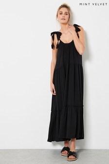 Mint Velvet Black Tiered Beach Maxi Dress